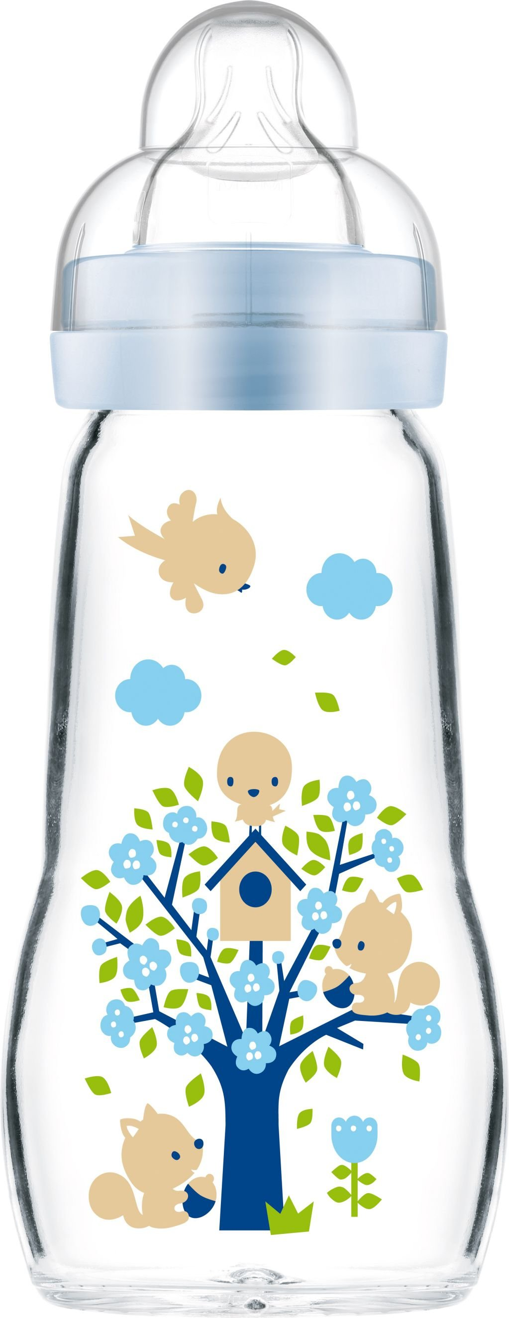 MAM Feel Good Sutteflaske i Glas 260 ml. Blue