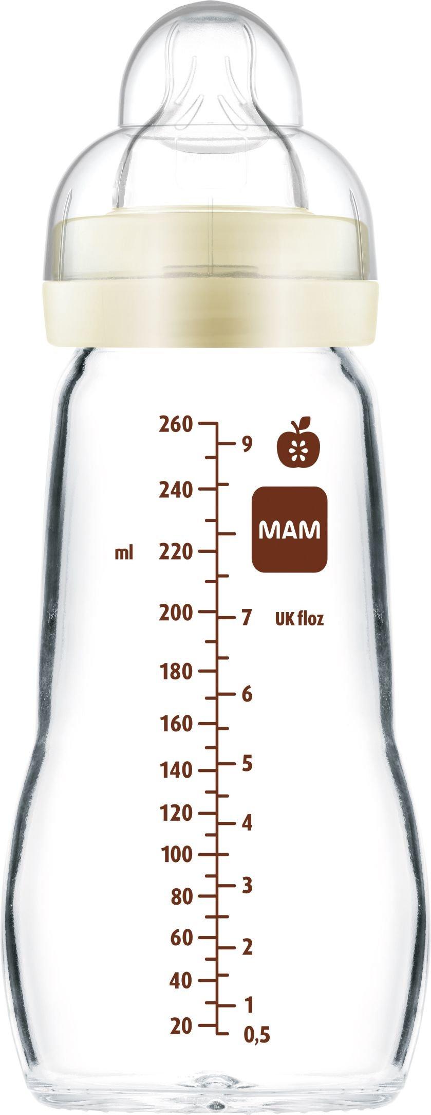 MAM Feel Good Sutteflaske i Glas 260 ml. Ivory