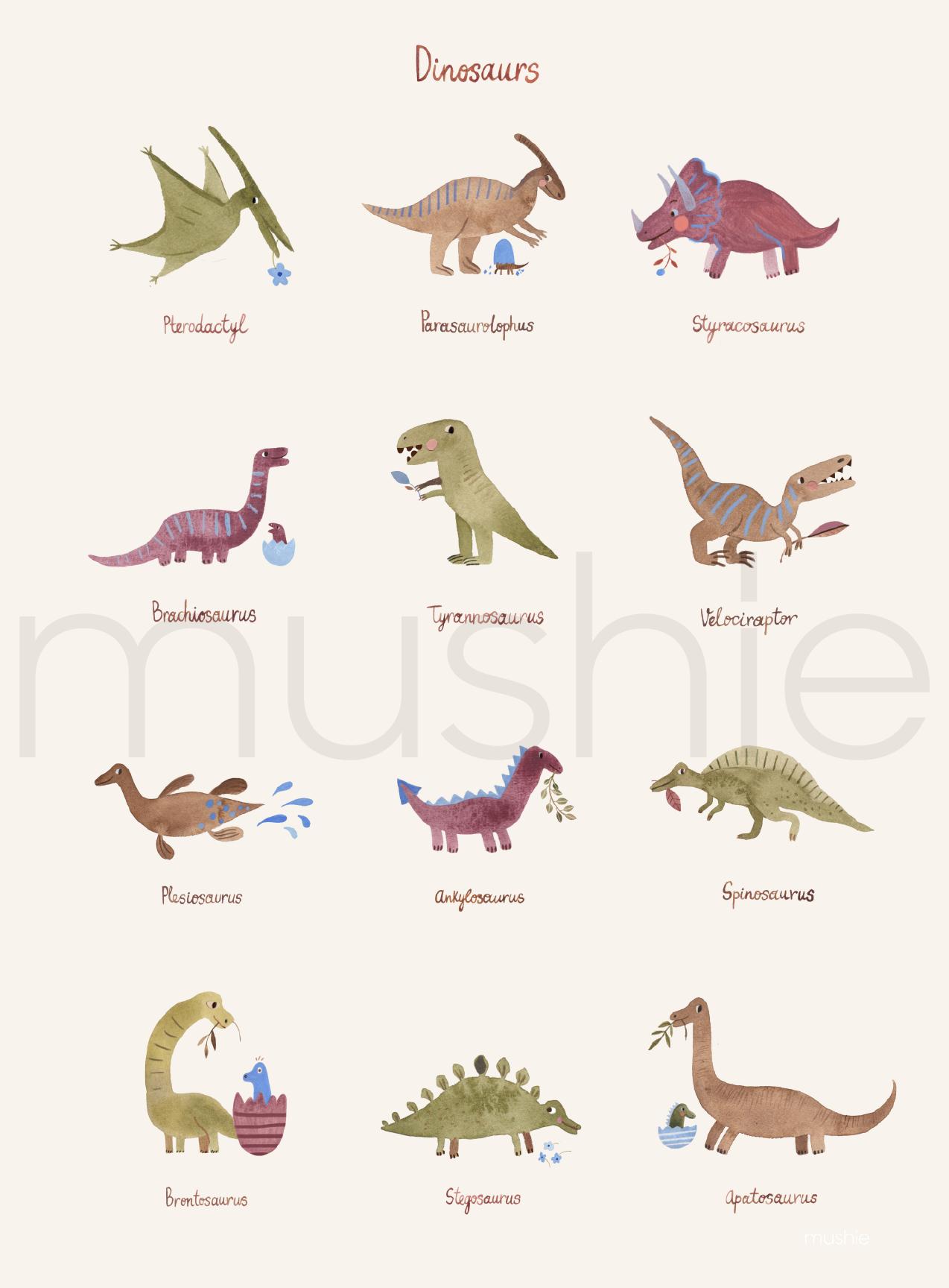 Mushie Plakat Dinosaurs Medium