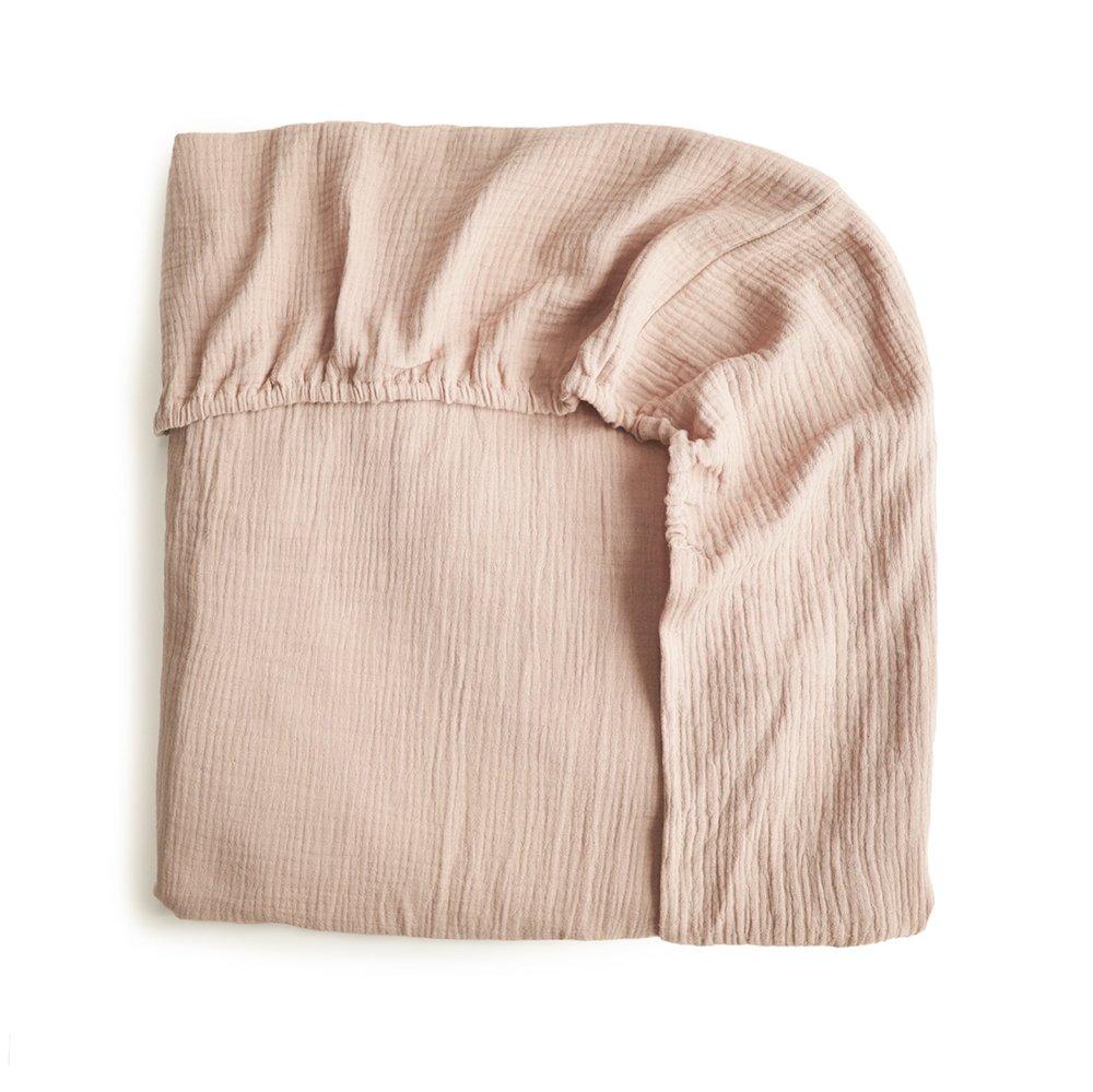 Mushie kuvertlagen str. large Blush - børneseng