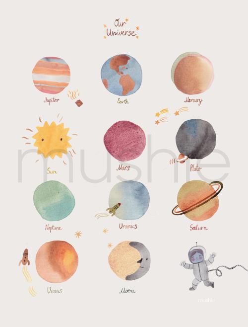 Mushie Plakat Space Medium